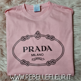 Tshirt Logo tondo rosa garofano