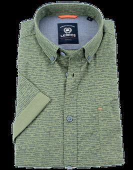 Sporthemd 1/2, oliv-blau gemustert