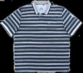 Polo, dunkelblau-weiß-hellblau gestreift