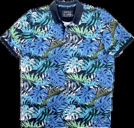 Poloshirt, Blumenmuster, blau