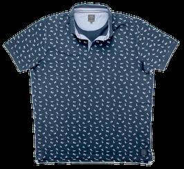 Poloshirt, marineblau, Hai Muster
