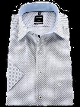 City-Hemd 1/2, weiß-blau-schwarz gemustert