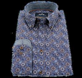 Sporthemd, blau-braun mit Paisley Muster