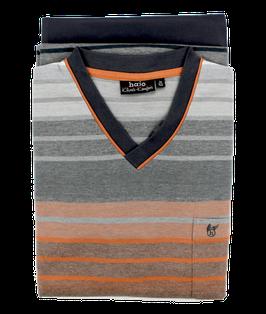 Schlafanzug, grau-orange gestreift