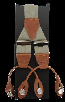 Rollzug-Hosenträger mit Lederpatten, beige