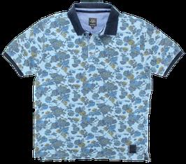 Poloshirt, Blumenmuster, türkis-blau