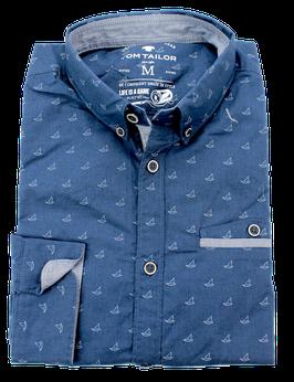 Sporthemd, jeansblau gemustert