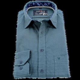 Sporthemd, blau-grün gemustert