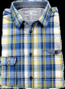 Sporthemd, gelb-blau-weiß kariert