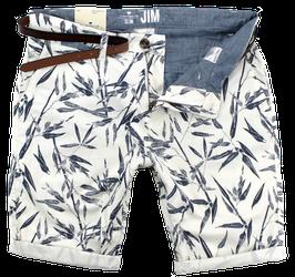Bermuda-Short, weiß-blau gemustert