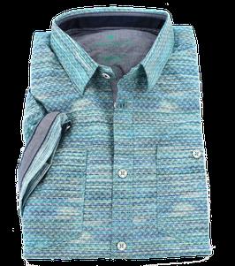 Sporthemd 1/2, grün-blau gemustert