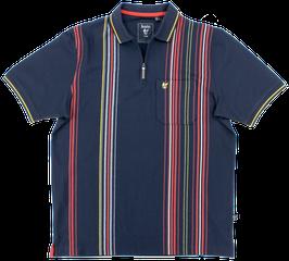 Polo, dunkelblau-rot-gelb gestreift