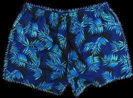 Badeshort, blau mit Palmen-Muster