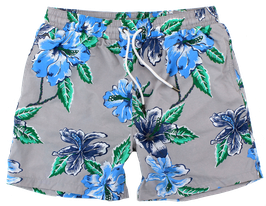 Badeshort, grau-blau mit Blütenmuster