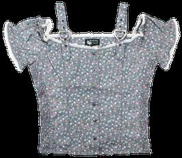 Bluse Polten, grau mit Blumenmuster