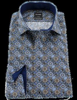 City Hemd, blau-braun gemustert