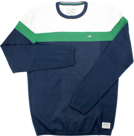 Strickpullover, blau-grün-weiß