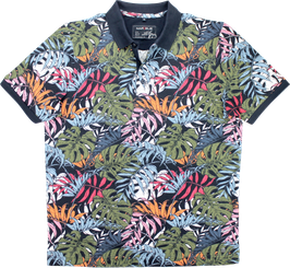 Poloshirt, Blumenmuster, marineblau
