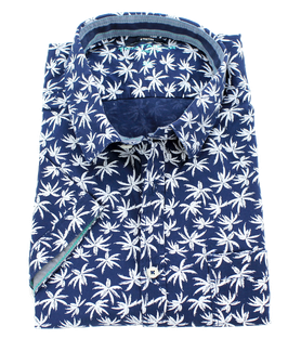 XXL Sporthemd 1/2, blau-weiß mit Palmenmuster