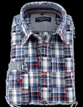 Sporthemd, blau-weiß-rot gemustert