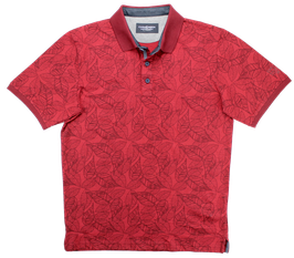 Polo, rot mit Blumenmuster