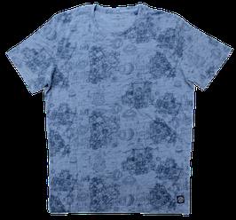 T-Shirt, jeansblau gemustert