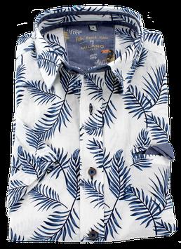 Sporthemd 1/2, weiß-blau mit Palmenmuster