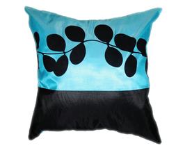 タイシルク クッションカバー  リーフ デザイン アクアブルー 【青】 【Leaf Design , Aqua Blue / Thaisilk Cushion Cover】 45×45cm 対応