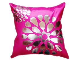 タイシルク クッションカバー  フラワー デザイン ピンク 【桃色】  【Flower Design , Pink / Thaisilk Cushion Cover】 45×45cm 対応