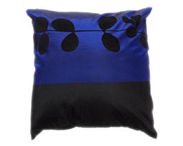 タイシルク クッションカバー  リーフ デザイン ブルー 【青】  【Leaf Design , Blue / Thaisilk Cushion Cover】 45×45cm 対応