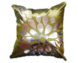 タイシルク クッションカバー  フラワー デザイン グリーン 【緑】  【Flower Design , Green / Thaisilk Cushion Cover】 45×45cm 対応