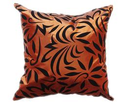 タイシルク クッションカバー  バンコク リーフ デザイン  ブロンズ 【銅】   【Bangkok Leaf Design , Bronze / Thaisilk Cushion Cover】  45×45cm 対応