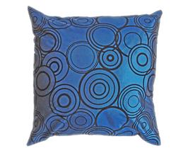 タイシルク クッションカバー  リングデザイン ターコイズブルー 【青】  【Ring Design , Turquoise Blue / Thaisilk Cushion Cover】 45×45cm 対応