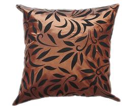 タイシルク クッションカバー  バンコク リーフ デザイン  ブラウン 【茶色】   【Bangkok Leaf Design , Brown / Thaisilk Cushion Cover】  45×45cm 対応