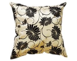 タイシルク クッションカバー  ロータス デザイン  パール ホワイト 【白】   【Lotus Design , Pearl White / Thaisilk Cushion Cover】  45×45cm 対応
