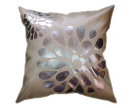 タイシルク クッションカバー  フラワー デザイン パールホワイト 【白】  【Flower Design ,  Pearl White / Thaisilk Cushion Cover】 45×45cm 対応