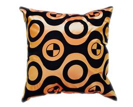 タイシルク クッションカバー  チェッカーデザイン オレンジ 【橙】  【Checker Design , Orange / Thaisilk Cushion Cover】 45×45cm 対応