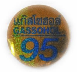 95 GASSOHOL  &タイ文字  Gold & Light Blue (ゴールド & ライトブルー  ラメタイプ・丸型)   アジアン ステッカー   1枚 【タイ雑貨 Thailand Sticker】