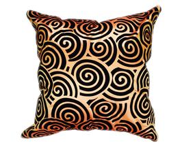 タイシルク クッションカバー  スクリュー デザイン オレンジ 【橙】  【Screw Design , Orange / Thaisilk Cushion Cover】 45×45cm 対応