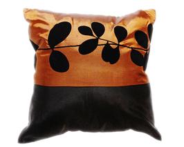 タイシルク クッションカバー  リーフ デザイン ブラウン 【茶色】 【Leaf Design , Brown / Thaisilk Cushion Cover】 45×45cm 対応