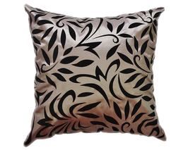 タイシルク クッションカバー  バンコク リーフ デザイン  シルバー 【銀】   【Bangkok Leaf Design , Silver / Thaisilk Cushion Cover】  45×45cm 対応