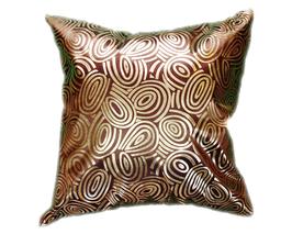 タイシルク クッションカバー  ゴールドリング デザイン ブラウン 【茶色】  【Gold Ring Design , Brown / Thaisilk Cushion Cover】 45×45cm 対応