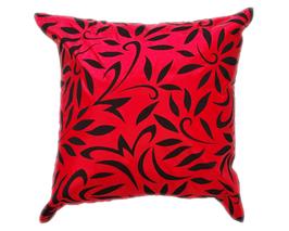タイシルク クッションカバー  バンコク リーフ デザイン  レッド 【赤】   【Bangkok Leaf Design , Red / Thaisilk Cushion Cover】 45×45cm 対応