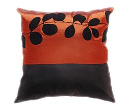タイシルク クッションカバー  リーフ デザイン ブロンズ 【銅】 【Leaf Design , Bronze / Thaisilk Cushion Cover】 45×45cm 対応