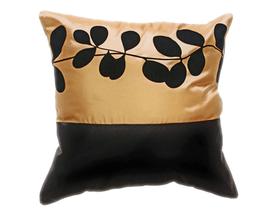 タイシルク クッションカバー  リーフ デザイン ゴールド 【金】  【Leaf Design , Gold / Thaisilk Cushion Cover】 45×45cm 対応