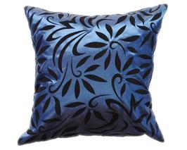 タイシルク クッションカバー  バンコク リーフ デザイン  ブルー 【青】   【Bangkok Leaf Design , Blue / Thaisilk Cushion Cover】  45×45cm 対応