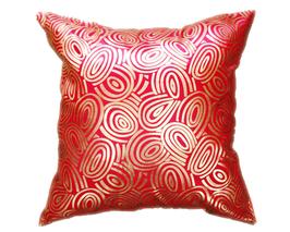 タイシルク クッションカバー  ゴールドリング デザイン レッド 【赤】  【Gold Ring Design , Red / Thaisilk Cushion Cover】 45×45cm 対応