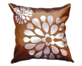 タイシルク クッションカバー  フラワー デザイン ゴールド 【金】  【Flower Design ,  Gold / Thaisilk Cushion Cover】 45×45cm 対応