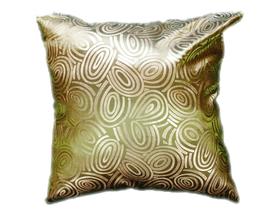 タイシルク クッションカバー  ゴールドリング デザイン グリーン 【緑】  【Gold Ring Design , Green / Thaisilk Cushion Cover】 45×45cm 対応