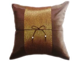 タイランド クッションカバー チェンマイ デザイン  ライトブラウン × ゴールド 【茶色×金】  【Chiang Mai Design , Light Brown × Gold / Thailand Cushion Cover】 40×40cm